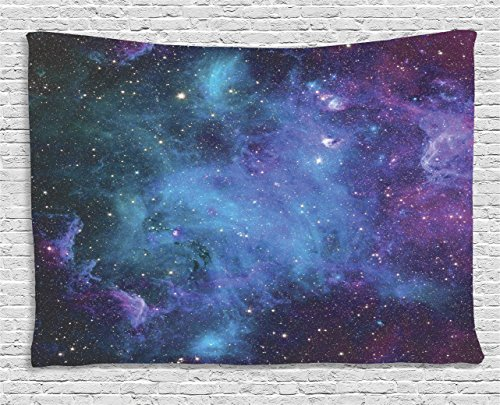 (Ambesonne Space Decor Tapestry, Galaxy Stars in Space Celestial Astronomic Planets in The Universe Milky Way Print, Wall Hanging for Bedroom Living Room Dorm, 60 W X 40 L Inches, Navy and Purple)