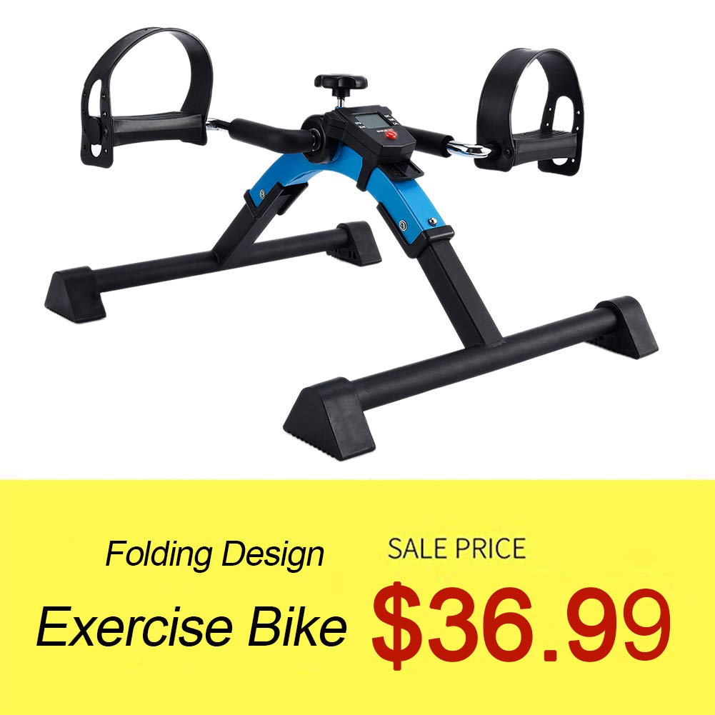 SYNTEAM Foldable Pedal Exerciser machine with Electronic Display (Fully Assembled, No Tools Required) by Synteam