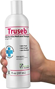 Truseb| #1 Chlorhexidine Shampoo with Ketoconazole for Dogs, Cats and Horses Medicated with Aloe - Hot Spots, Ringworm, Ringworm, Pyoderma & Skin Order USA