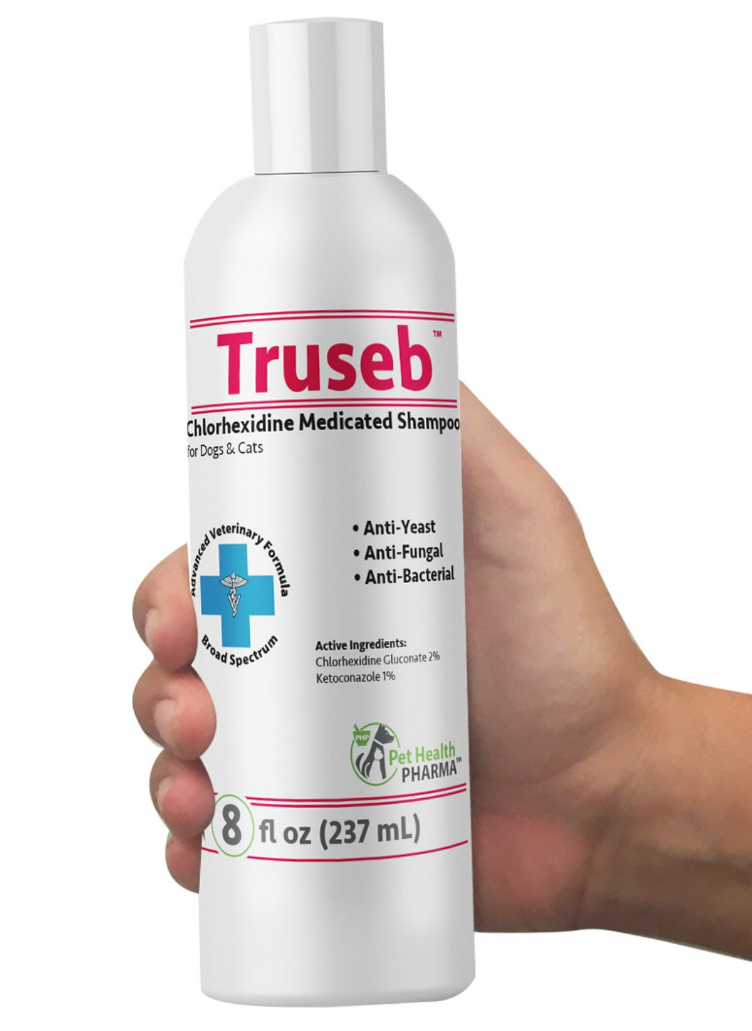 Truseb | #1 Ketoconazole & Chlorhexidine Shampoo for Dogs & Cats Antifungal, Antibacterial & Antiseptic Medicated Dog Shampoo for Hot Spots, Ringworm, Yeast, Fungal Infections, Acne & Pyoderma U.S.A