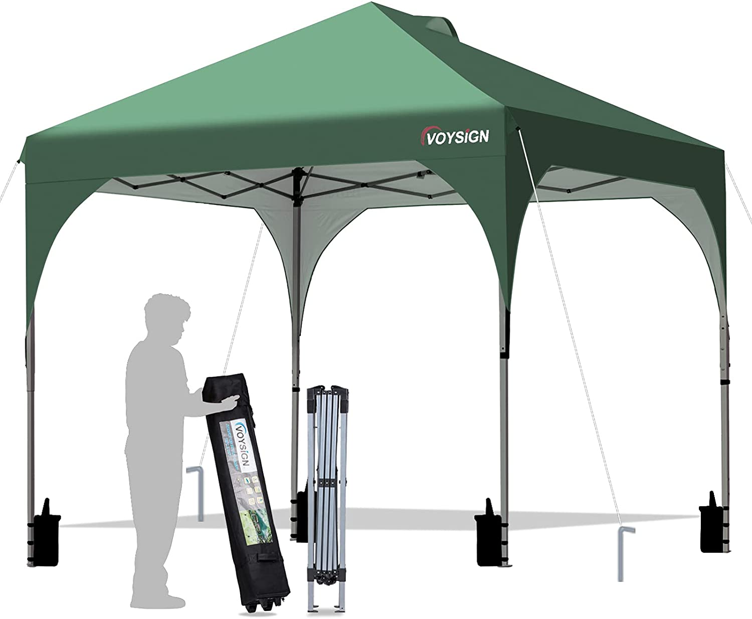 VOYSIGN 10x10 Pop Up Canopy Tent, Outdoor Instant Sun Shelter - Green, Included 1 x Rolling Storage Wheeled Bag, 4 x Weights Bags, 4 x Guylines, 8 x Stakes