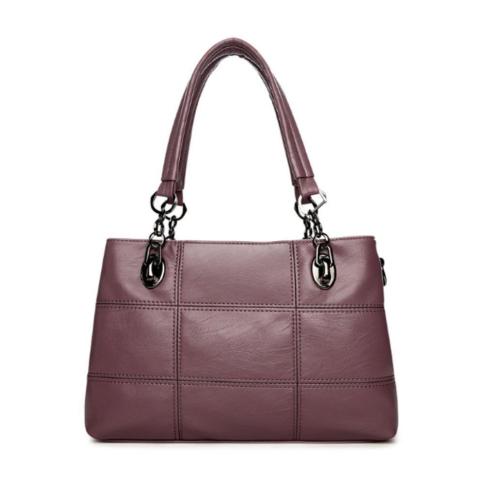 Voudi Genuine Leather Handbags for Women Top Handle Satchel Handbag Tote Shoulder Bag Purse Crossbody Bag (Purple)