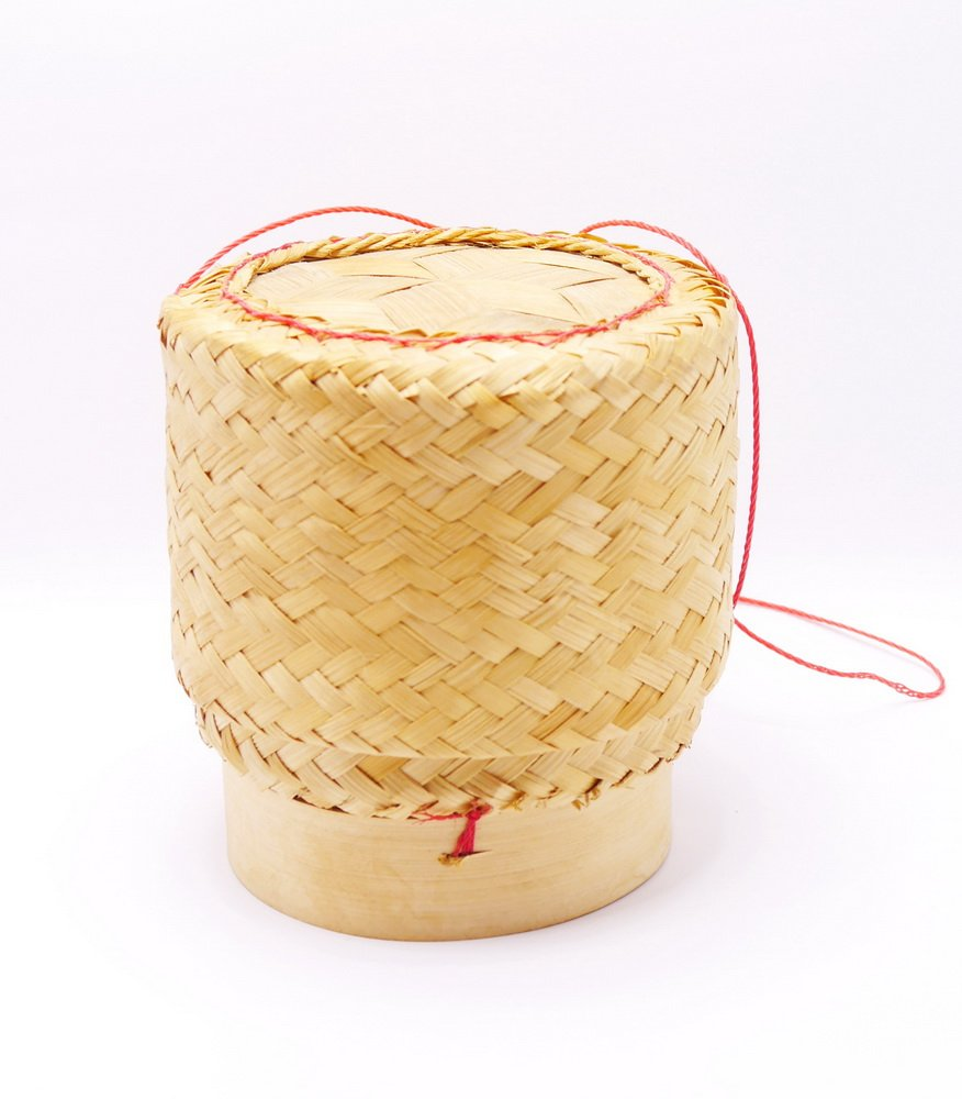 White Orchid Sticky Rice Bamboo Basket Thai Laos Traditional Handmade to Keep Sticky Rice Warm (Medium 5*5 inches) by D88