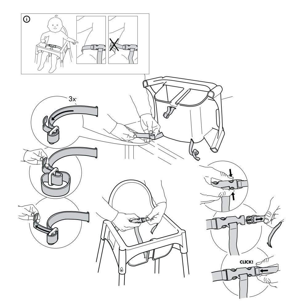3 Punkt Kinderschutz Gurt Verstellbarer Drehbar Haken Baby Sicherheitsgurt F/ür Kinderwagen Hochstuhl Kinderwagen Buggy Schwarz
