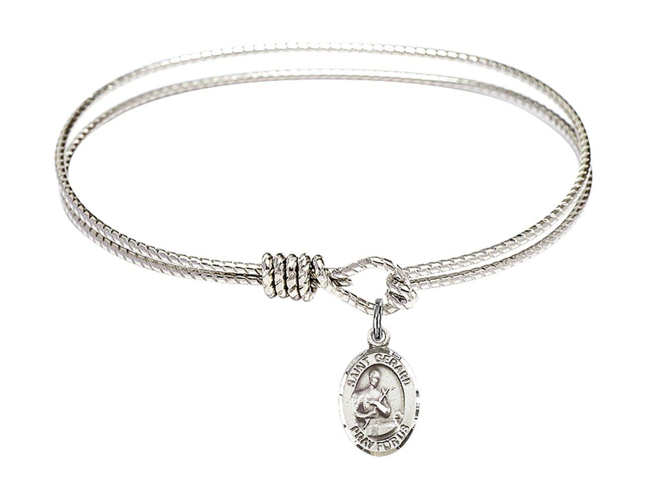 6 1/4 inch Oval Eye Hook Bangle Bracelet w/ St. Gerard Majella in Sterling Silver