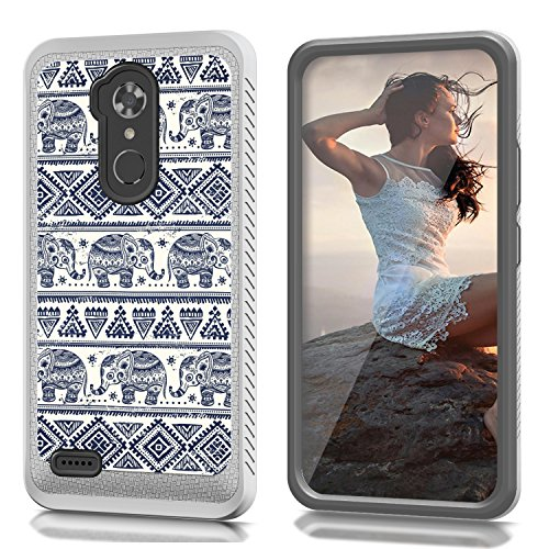 CREATOR[TM] For ZTE Max XL N9560/ZMax Pro Z981/Blade X Max Z983/Max Blue/Blade Max 3 Z986 (Virgin Mobile, Boost Mobile)~CS4 HYBRID Case B-Tribal Elephants ()