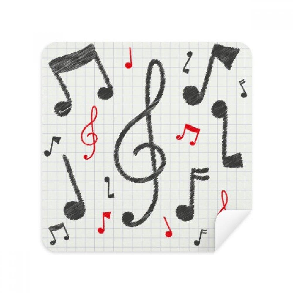 音楽表記組み合わせカラフルパターン電話画面クリーナーメガネクリーニングクロススエードファブリック2個   B07C986R4X