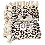 Max Daniel Child Tan Jaguar Front Blanket - Double Sided - Satin Ruffle