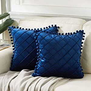 Andaot 2 Packs Navy Blue Decorative Throw Pillow Covers with Pom Poms for Living Room/Couch/Bed, Boho Pillow Covers 18x18 Inch/45x45 cm, Soft Velvet Plaid Accent Cusion case, Modern Farmhouse Decor