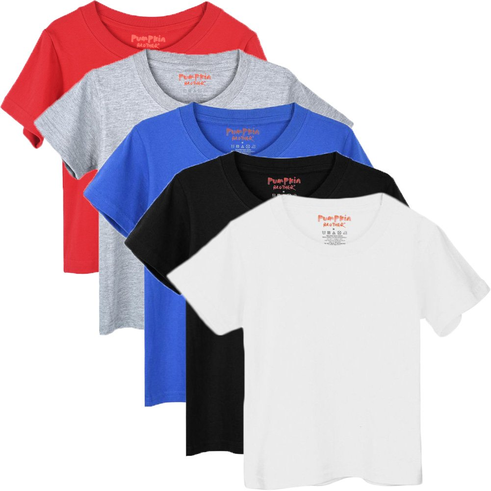 Pumpkin Brother Kids Short Sleeve Cotton T-Shirt Essential Crew Tee for Little Boys and Girls Pack of 5