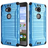 Huawei Sensa 4G LTE [Straight Talk] H710VL H715BL / Honor 5X Armor Case Heavy Duty Brushed Metal Metallic Finish Slim Fit Shock Impact Dual Layer Protection Hybrid TPU Hard Case (Blue)