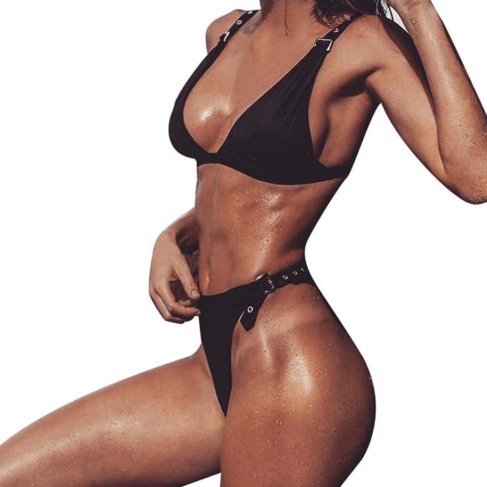 8d96d2bada Sexy Bikini Swimsuit Swimwear Sets Buckle Belt Adjustable Top Thong Bottom  for Women Girls (S