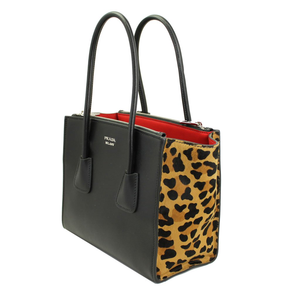 8c17bc15ab Amazon.com: Prada Black Leather/Leopard Tote Bag With Shoulder Strap  1bg625: Clothing