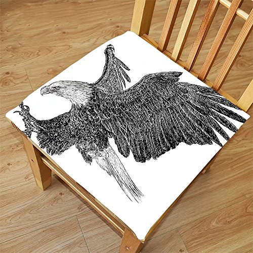 Nalahome Set of 2 Waterproof Cozy Seat Protector Cushion Animal Bald Eagle Swoop Hand Drawn Sketchy Figure Flying Hunter Wildness Artwork Black Light Grey Printing Size - Face Round Bald For Glasses