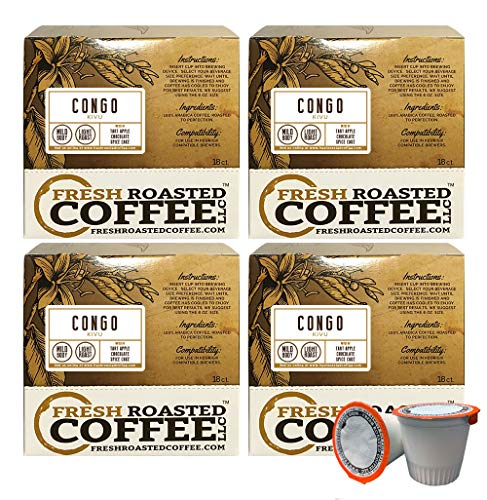 Fresh Roasted Coffee LLC, Congo Kivu Coffee Pods, Light Roast, Single Origin, Capsules Compatible with 1.0 & 2.0 Single-Serve Brewers, 72 Count