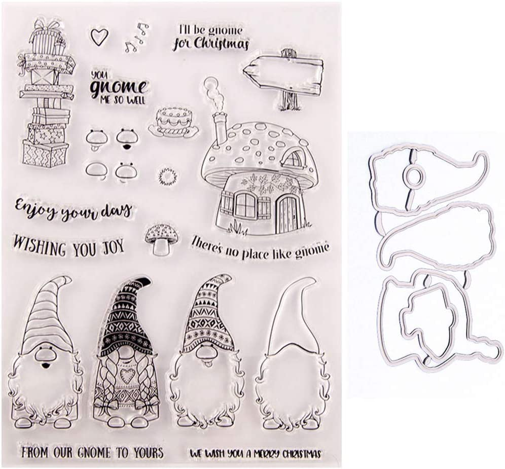 DIY Scrapbooking Embossing Photo Album Decorative Paper Card Craft Art Handmade Gift Mcsibobce Santa Gnome Seal Stamp with Cutting Dies