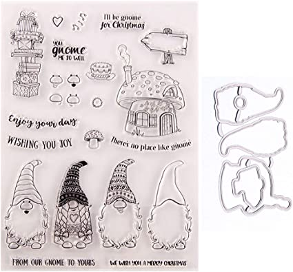 Christmas Gnomes Love Heart Clear Stamps Silicone Metal Cutting Dies