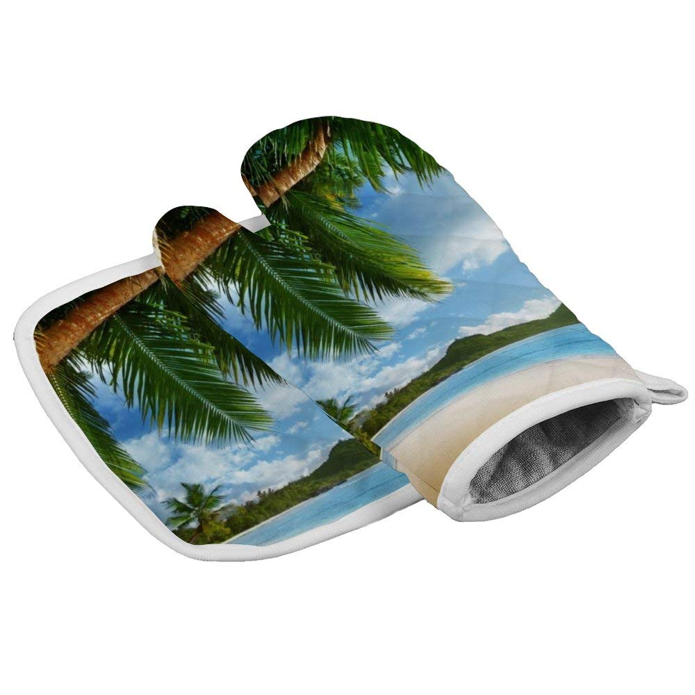 July-Seven Landscape with Palm Trees Beach and Ocean Oven Mitts,Professional Heat Resistant Microwave BBQ Oven Insulation Thickening Cotton Gloves Baking Pot Mitts with Soft Inner Lining