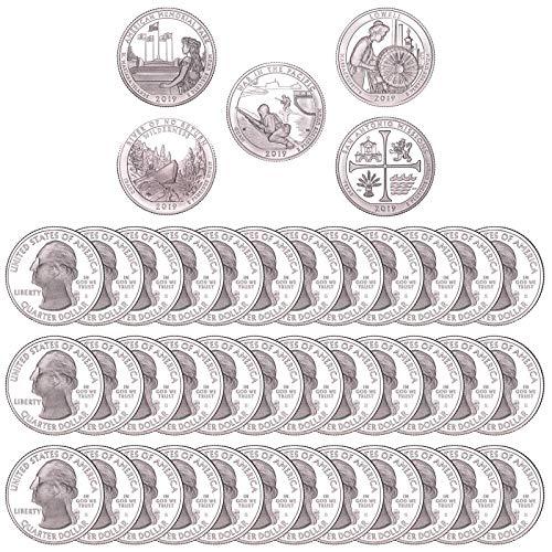 2019 S National Parks Quarter 50 Coin Roll Gem Deep Cameo Proof