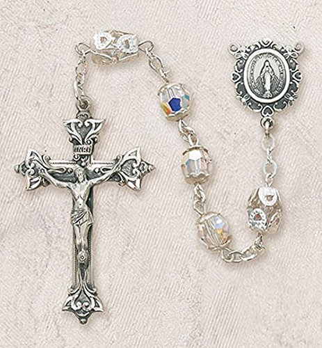Aurora Borealis Crystal Rosary Beads (Creed 8mm Swarovski Aurora Borealis Crystal Bead Sterling Silver Rosary with Miraculous Centerpiece Gift Boxed)