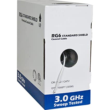 RG6 Standard Shield Bulk Coaxial Cable, White, 1000ft, 75 Ohm, 18AWG,