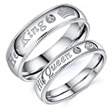 Mintik Her King His Queen Ring Stainless Steel Wedding Band Set Couples Anniversary Engagement Promise Ring