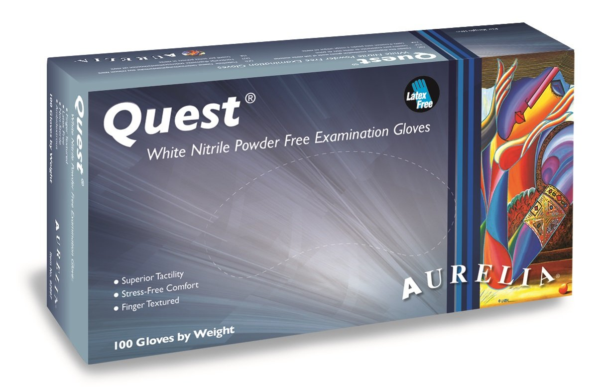 Aurelia Quest Nitrile Glove, Powder Free, 9.4'' Length, 3.5 mils Thick, Medium (Pack of 1000) by Aurelia