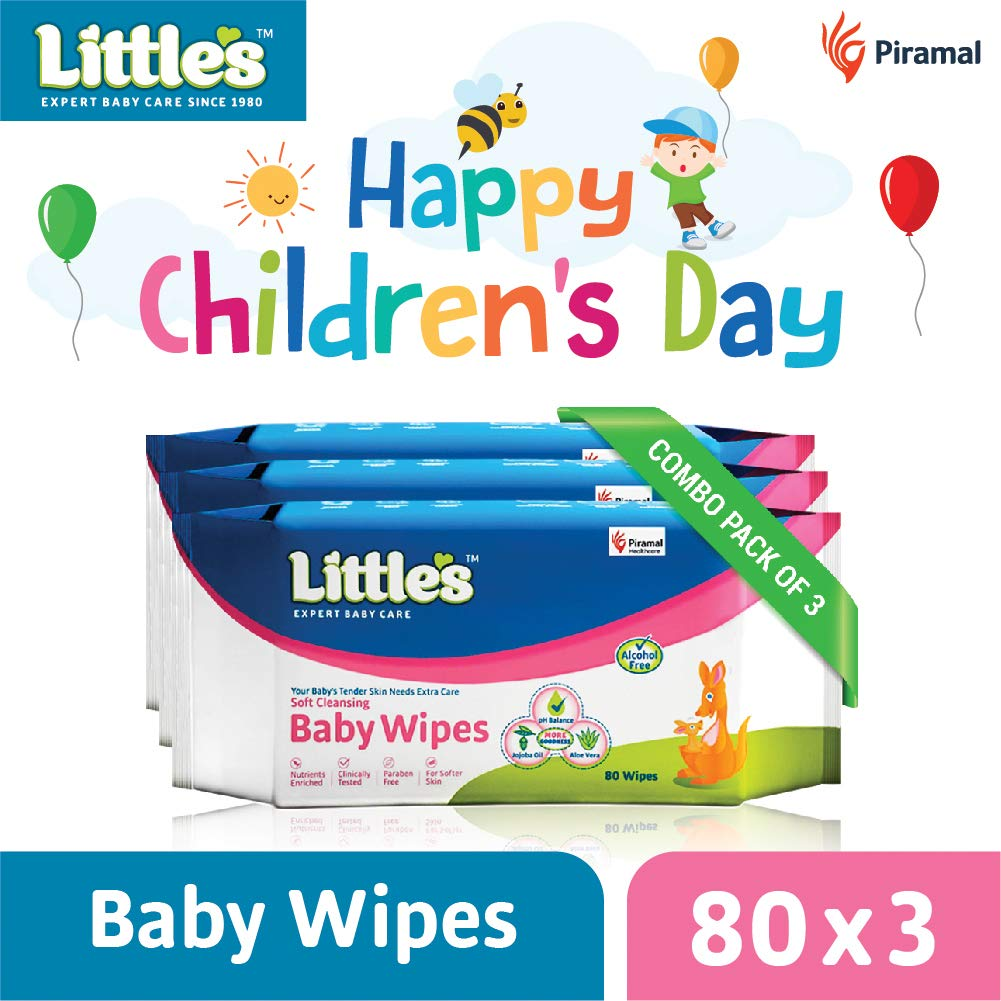 Little's Soft Cleansing Baby Wipes with Aloe Vera, Jojoba Oil and Vitamin E (80 Wipes) Pack of 3 product image