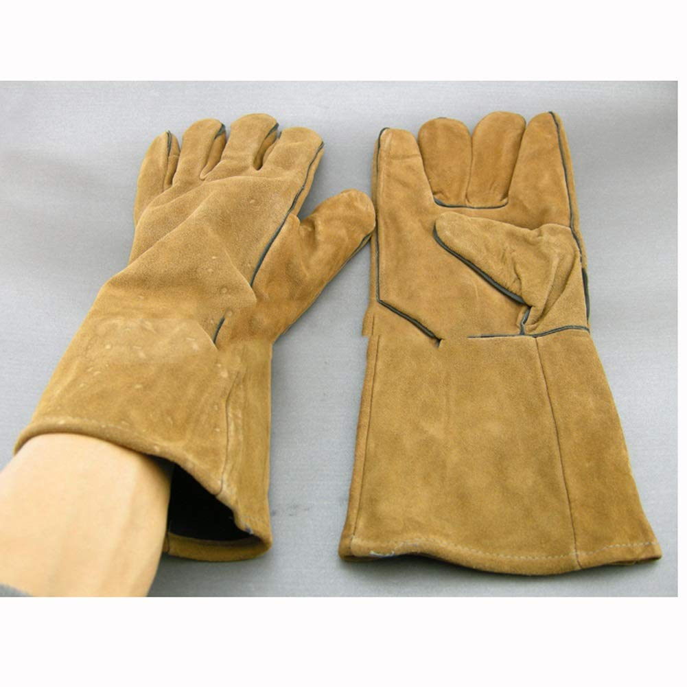 YSNBM Gloves Leather Welding Gloves And Sleeves,Extreme Heat And Fire Resistant Reinforced Versatile Gloves With Protective Cotton Armwear With Elastic Cuffs/13inches Gas Station,Dry Ice,Cold Storage,