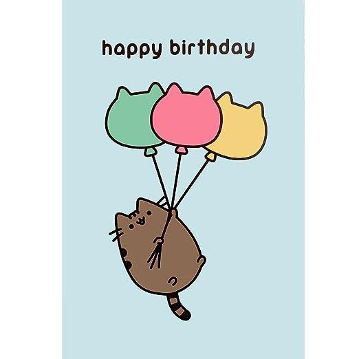 Pusheen cumpleaños tarjeta gato Tarjeta en blanco en el ...