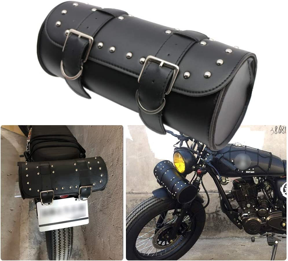 KYN Motorcycle Handlebar Bag Sissy Bar Side Tool Bag Front Fork Roll Barrel Bag for Harley Sportster Softail Dyna Bag Black 2