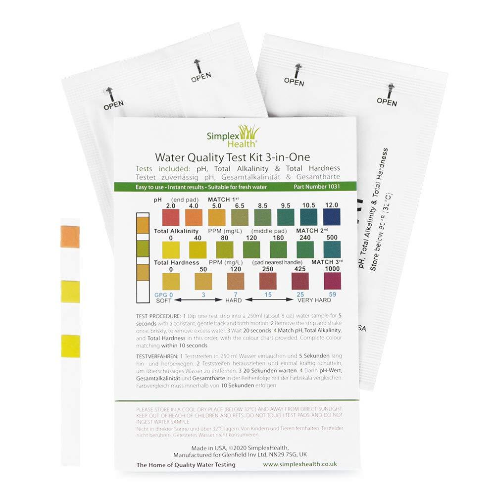 - Bebedero Agua Simplexhealth Hogar Agua Kit de Prueba 3-in-one 5 Tiras Acuarios para Total Dureza Total Alcalinidad y Ph Estanques
