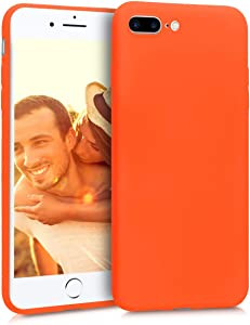 kwmobile TPU Silicone Case Compatible with Apple iPhone 7 Plus / 8 Plus - Soft Flexible Protective Phone Cover - Neon Orange