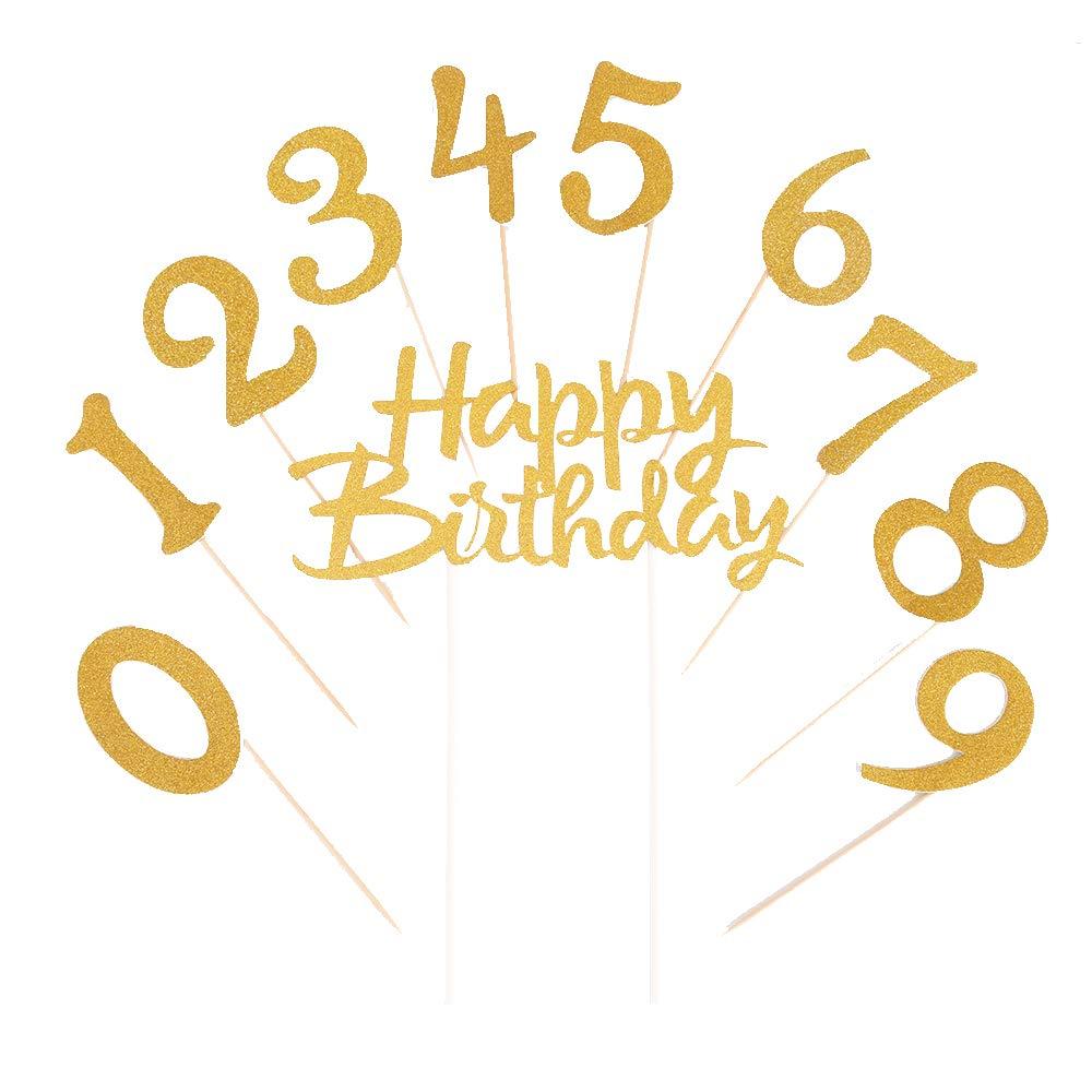 LVEUD Gold Glitter 0-9 Cake Topper Happy Birthday Cake Topper 18th-21th-30th-40th-50th-60th-70th-80th-90th Birthday Party Decoration Supplies Set 21