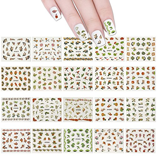 ALLYDREW 50 Sheets Cherry Blossoms Asian Inspired Nail Sticker Set Foil Nail Stickers Nail Art (1200+ nail stickers) (Cherry Decal Set)