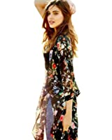 Akery Women's Floral Chiffon Kimono Cardigan Blouse Beach Cover up