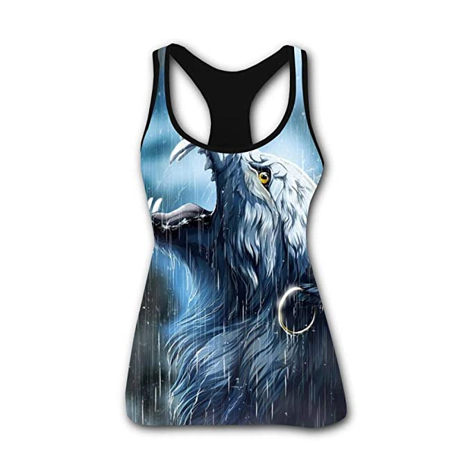 9d518eed4692c0 Women s Rain Wolf Tank Tops 3D Printed Yoga Racerback Workout Tanks Women
