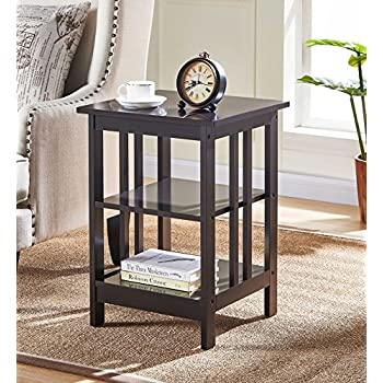 Amazon Com Espresso Finish Wooden Chair Side End Table