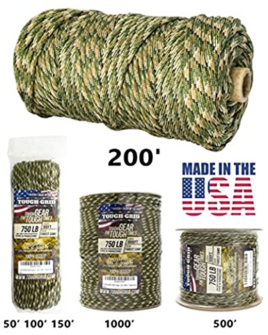 TOUGH-GRID 750lb Forest Camo Paracord / Parachute Cord - Genuine Mil Spec Type IV 750lb Paracord Used by the US Military (MIl-C-5040-H) - 100% Nylon - Made In The USA. 50Ft. - Forest - Throw Rope Bag