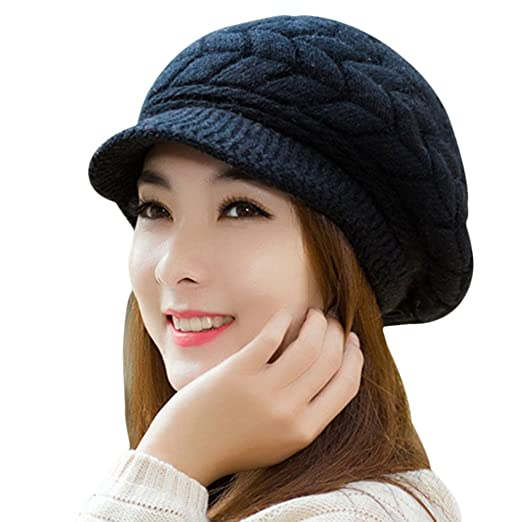 SportsWell Women s Solid Warm Knitted Hat Winter Ear Protective Cozy Caps  Black 210eb1370104