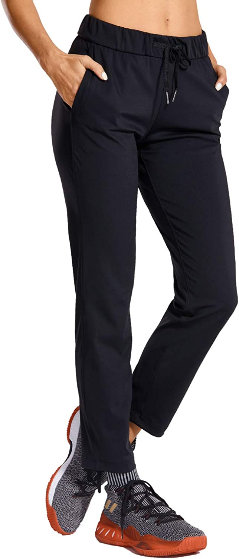 CRZ YOGA Women's Stretch Lounge Sweatpants Travel Ankle Drawstring 7/8 Athletic Track Yoga Dress Pants