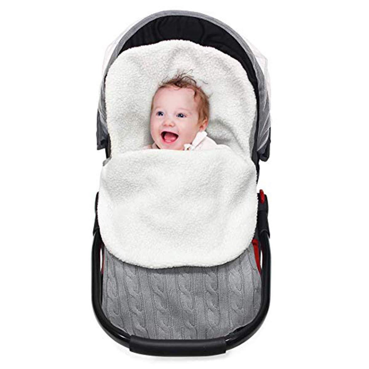 BB Hapeayou Sac de Couchage en Tricot pour bébé avec Cache-Couche en Molleton épais et Chaud pour bébé de 0 à 12 Mois, garçon, Filles (Gris) garçon