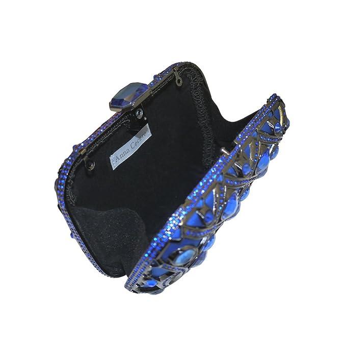 Diseño italiano lustrino joya embrague noche bolsa de cóctel de Anna Cecere mujeres - Azul: Amazon.es: Equipaje