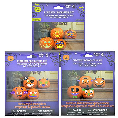 Pumpkin Decorating Kits - Decorates 12 Pumpkins with Cute & Funny (Decorating Halloween Pumpkins Without Carving)
