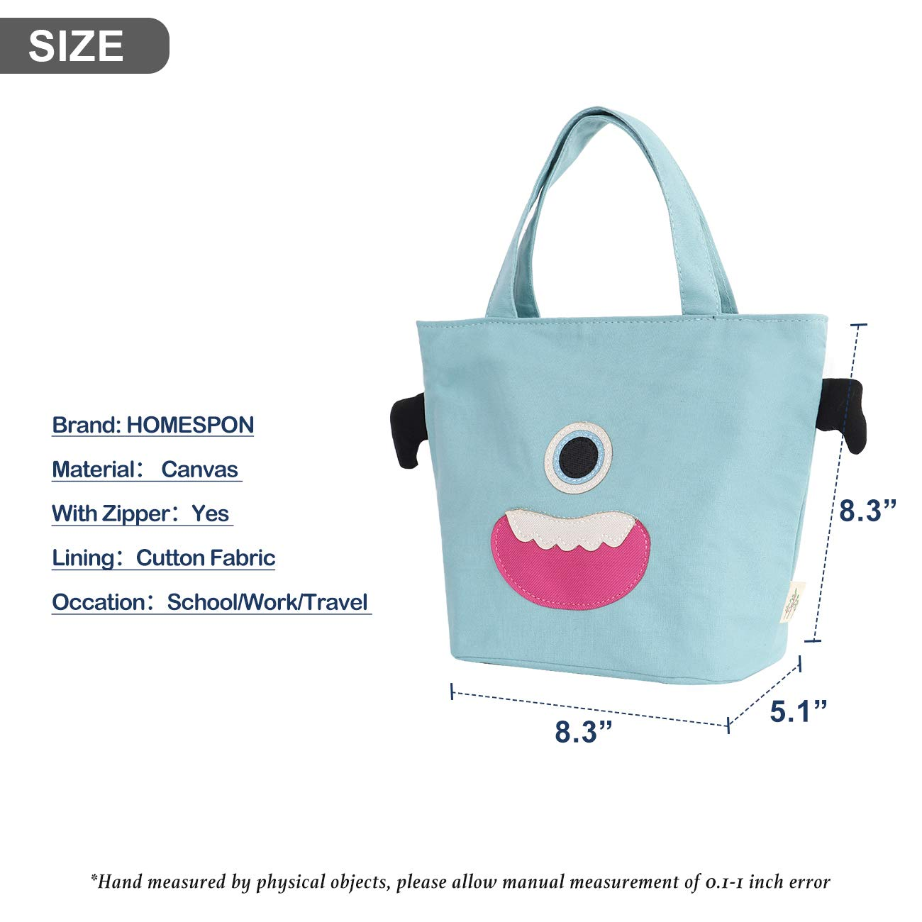 Outdoor,grey Homespon Cute Kids Lunch bag Insulated Lunch Tote Reusable Cavans Bag with Cartoon Patterns for Kids,Toddler,Teens for School