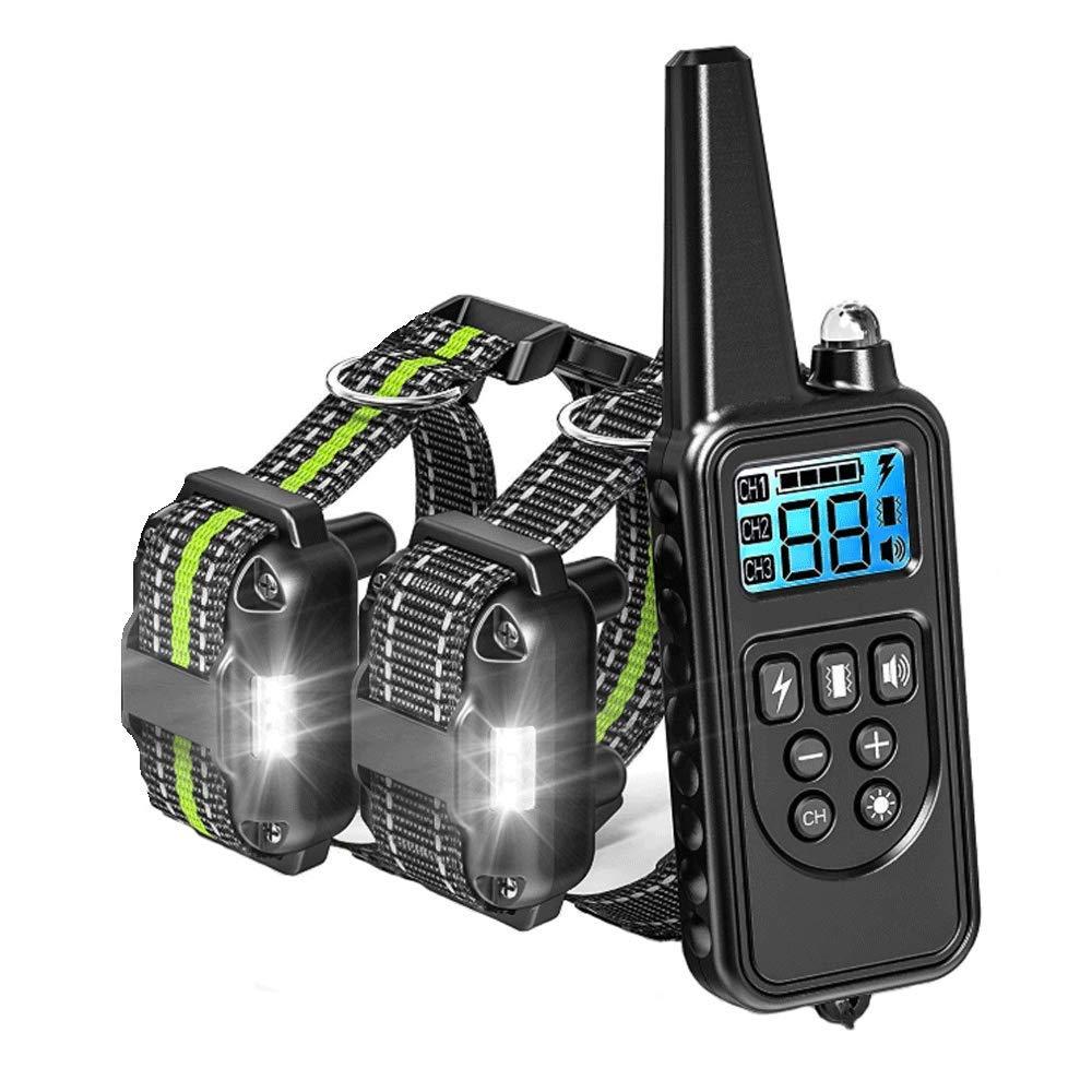 2 Collar Anti Barking Dog, Acquisure Recharable Electric Remote Control Dog Collar 4 Training Models AntiBarking Device Pet Supplies,3