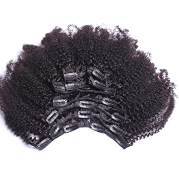 Amazon Com Afro Kinky Clip In Extensions Natural Hair 100