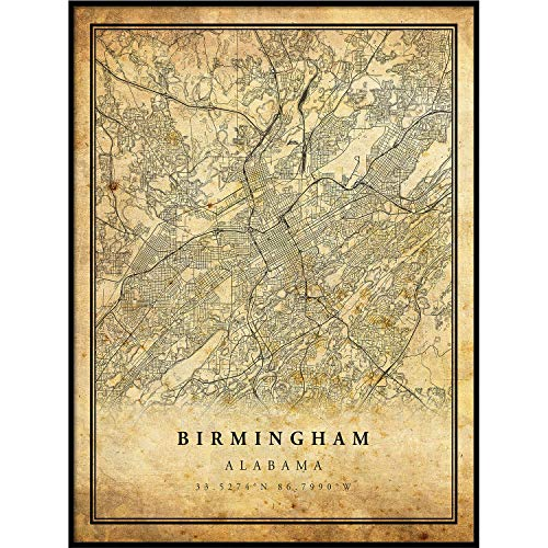 (Birmingham map Vintage Style Poster Print   Old City Artwork Prints   Antique Style Home Decor   Alabama Wall Art Gift   map Wall Art 18x24)