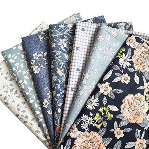 (Hanjunzhao Vintage Floral Print Cotton Fabric Fat Quarters Bundles, Pre-Cut Sewing Quilting Fabric, 18 x 22 inches)