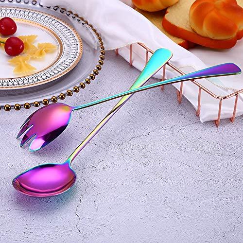 Teaspoon Scoop 2Pcs/Set Dinner Serving Spoon Fork Set Coffee Spoon Stainless Steel Dessert Dishes Scoop Fruit Fork Salad Servers Tableware